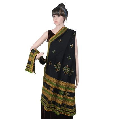 Show details for Black Shawl with Green Embroidery
