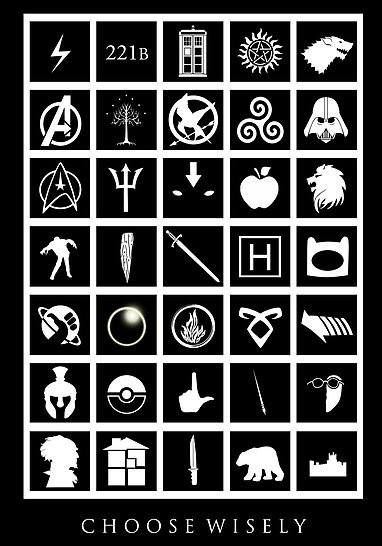 Harry Potter, Sherlock, Doctor Who, Supernatural, Game of Thrones. Avengers, Lord of the Rings, The Hunger Games, Teen Wolf, Star Wars. Star Trek, Percy Jackson, Avatar, Twilight, Narnia. The Walknig Dead, Buffy, Merlin, House, Adventure Time. Hitchhikers Guide to the Galaxy, Heroes, Divergent, The Mortal Instruments, Back to the Future. Spartacus, Pokemon, Glee, Castle, Breaking Bad. Series of Unfortunate Events, Homestuck, Dexter, His Dark Materials, Downton Abbey