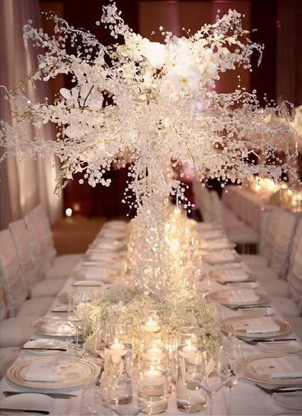 Fantastic White Snowy Winter Wedding Centerpiece with Floating Candles