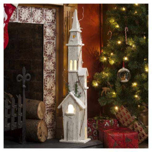 Large 3D Lit Wooden Church Christmas Decoration TESCO £30 90 X 20 X 20
