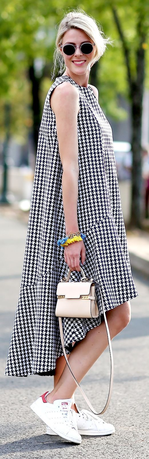 Black And White Houndstooth High And Low Dress