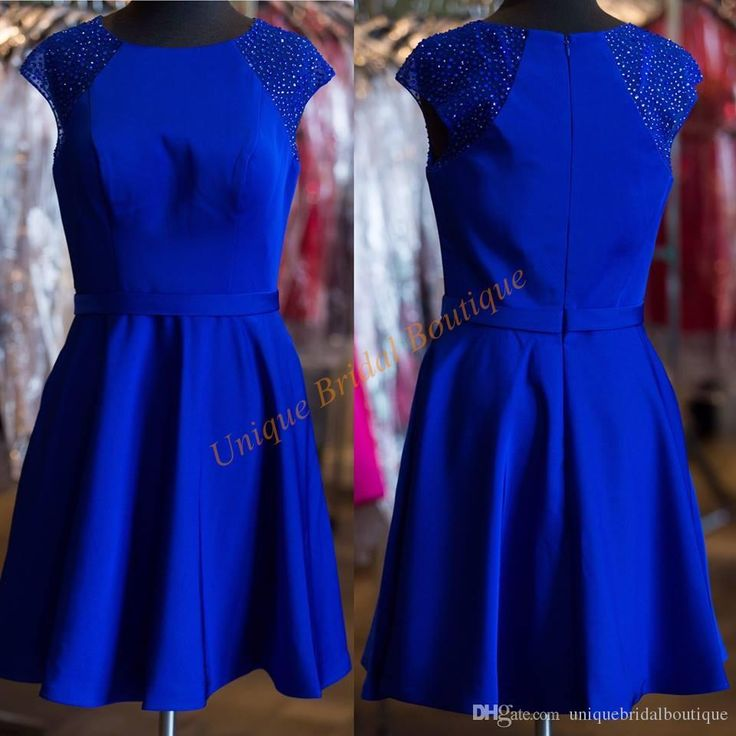 2016 Royal Blue Cocktail Dresses Uk With Cap Sleeves And Zipper Back Real Picture Beaded Crystals Elegant Homecoming Gowns Custom Made Brown Cocktail Dress Buy Cocktail Dresses Online From Uniquebridalboutique, $74.33| Dhgate.Com