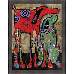 @Overstock - A modern and whimsical portrayal of life with dogs, this Wait and Stay abstract framed art print will tug on the heartstrings of any animal lover. The vertical silhouette is great for displaying above a sofa, and you will love the vivid hues.http://www.overstock.com/Home-Garden/Jenny-Foster-Wait-and-Stay-Framed-Print-Art/6404838/product.html?CID=214117 $117.99