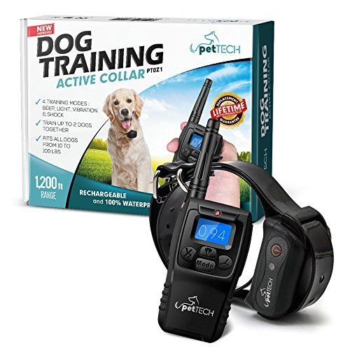 PetTech Remote Controlled Dog Training Collar, Rechargeable and Waterproof, All Size Dogs (10Lbs - 100Lbs), 1200 Foot Range