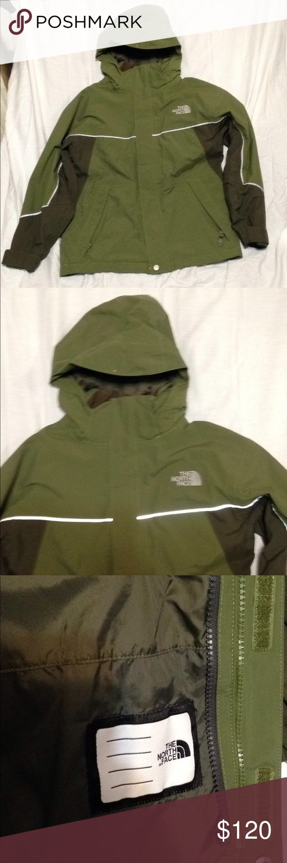 The north face jacket size medium boys coat Like new the north face boys hyvent size medium boys jacket with reflective stripe on front n sleeves for safety this jacket is waterproof wind proof n durable with a zippered removable hood it can roll up n go in or unzip n be removed I snapped a shot of the only defect I could find in back of jacket there's a slight blemish The North Face Jackets & Coats Raincoats
