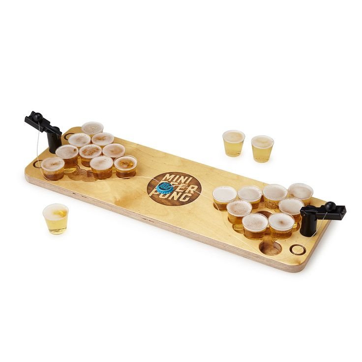 Take your beer pong talents to go and swap the watered down 30-rack for a hoppy craft brew with this rustic mini version of a dorm room classic.