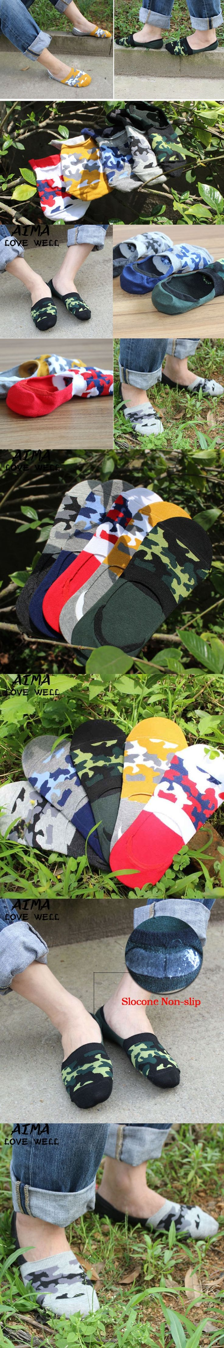 Men Cotton Casual Mixed Colors Camouflage Printed Fashion Short Socks Spring Summer Men Invisible Socks For Men 5pairs/lot