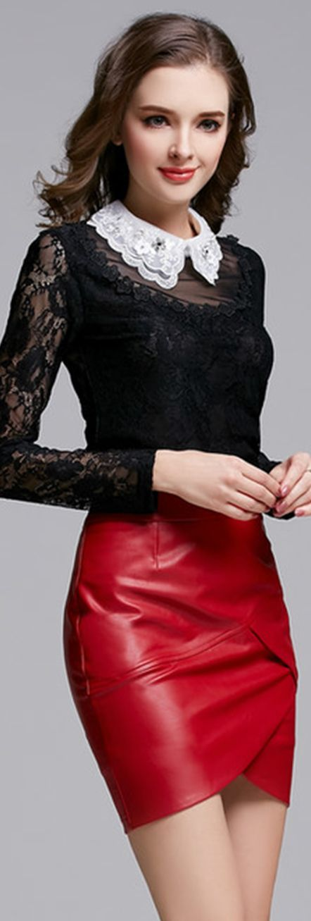 Red Leather Asymmetrical Skirt♡♡♡♡♡