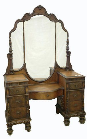 WALNUT 1940S vanity ~~ the mirror and style of this vanity is like the one mom.n.law had and made the girls feel like a princess
