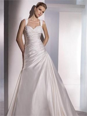 Sweetheart Neckline Off-the-shoulder Natural Waist  A-line Wedding Dress WD0198 www.tidebridaldresses.com $399.0000