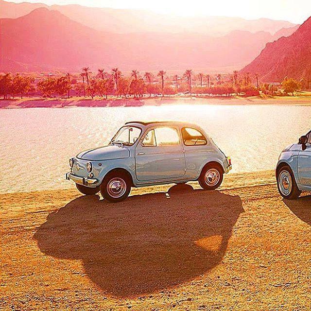 Io voglio questo!!! Sole caldo mare e una bellissima Fiat 500! (by…