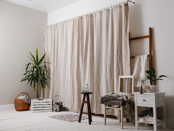 Linen Curtains Shabby Chic Farmhouse Curtain Panels Set Etsy