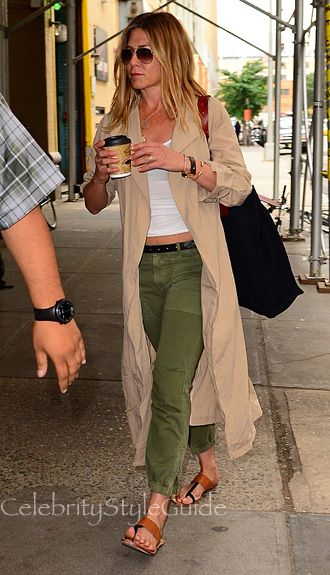 Jennifer Aniston and Nili Lotan Cropped Military Pants, Oliver Peoples Eyewear Kannon Polarized Aviator Sunglasses. See the latest Jennifer Aniston style, fashion, beauty, trends, wardrobe and accessories.
