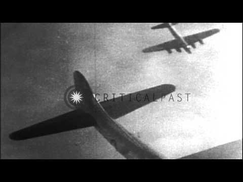 A burning American B-17 aircraft falls through clouds in Germany. HD Stock Footage - YouTube