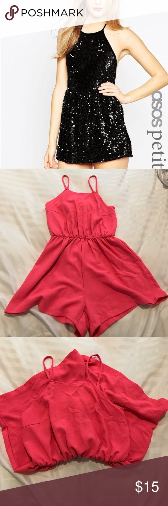 Asos petite playsuit in bright pink Picture one is for reference, that is the style. Size is uk6/us2 petite size.  No lo ger fits.  Used once, perfect condition 📌sales are final📌 ASOS Pants Jumpsuits & Rompers