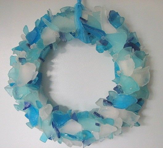 Beach Decor Sea Glass Wreath  Beach Glass by beachgrasscottage, $85.00 - DIY idea around a clock or mirror??