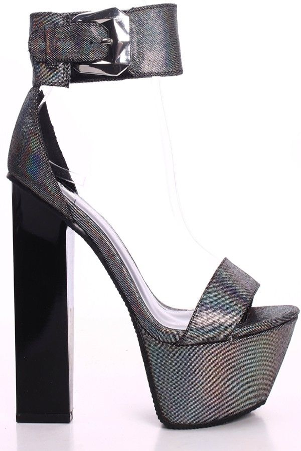 pewter holographic thick ankle platform plastic heel