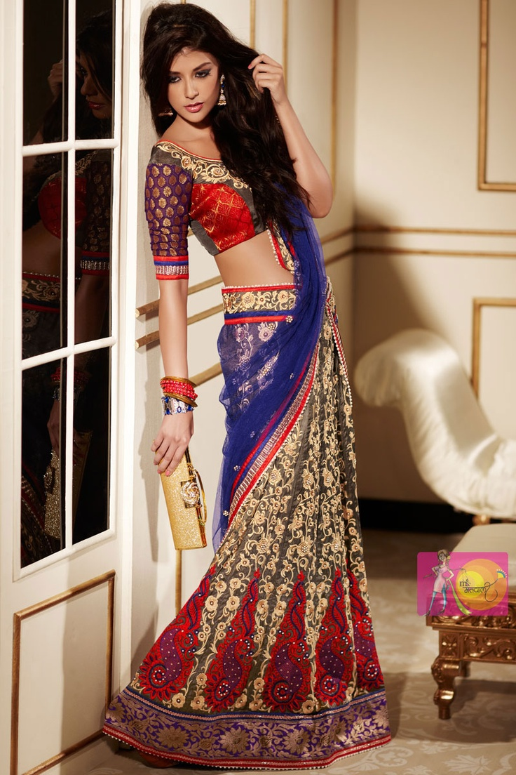 Stylish Red And Blue Embroidery Work Party Wear Designer Saree Sarees Embroidered