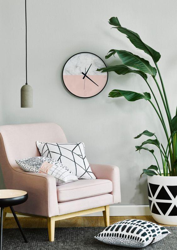 Interior design pink scandinavian clock