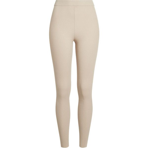 Yeezy Ribbed Leggings ($530) ❤ liked on Polyvore featuring pants, leggings, beige, pink pants, ribbed leggings, adidas originals, pink trousers and pink leggings