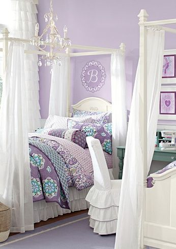 Lavender bedroom-Gorgeous little girl's room - loving the lavender walls and those canopy beds!