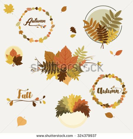 Vector fall, autumn badges, decoration with colorful leaves on light background - stock vector