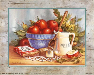 Cookbook and Apples Print by Peggy Thatch Sibley