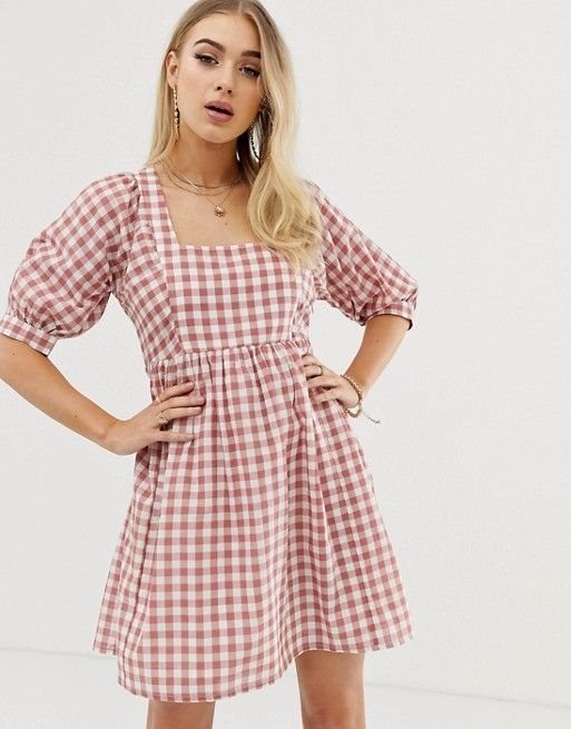 562a9d1ff54 DESIGN chuck on square neck mini smock dress in gingham in 2019 ...