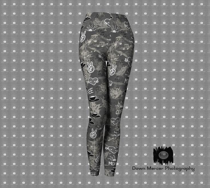 Printed Leggings Dark Grey, Coffee Print Leggings, Workout Tights, Yoga Pants, Women's Premium Fashion Leggings, FREE SHIPPING by DawnMercerPhoto on Etsy