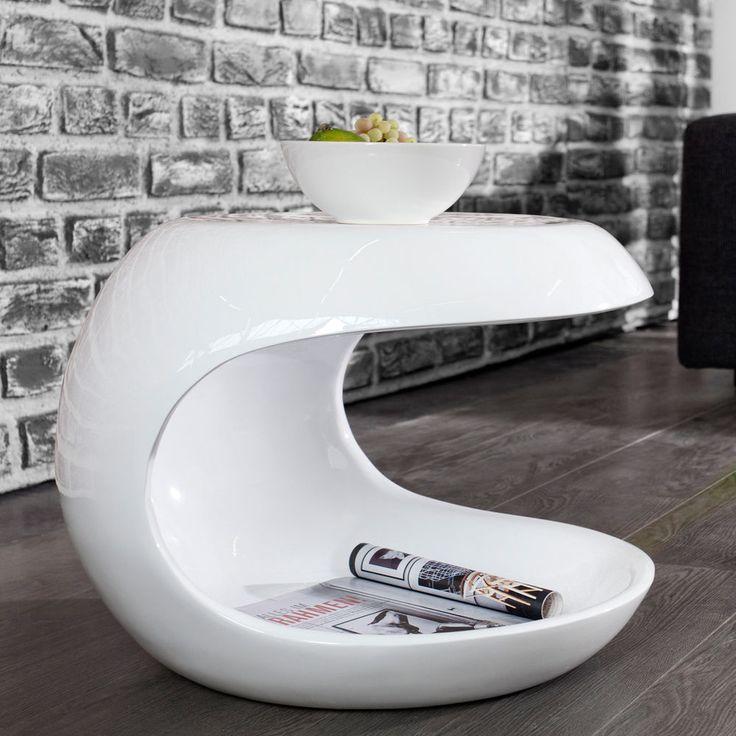 Moderner Beistelltisch SPIN Weiss Couchtisch Tisch Hochglanz Aufbewahrungsfach