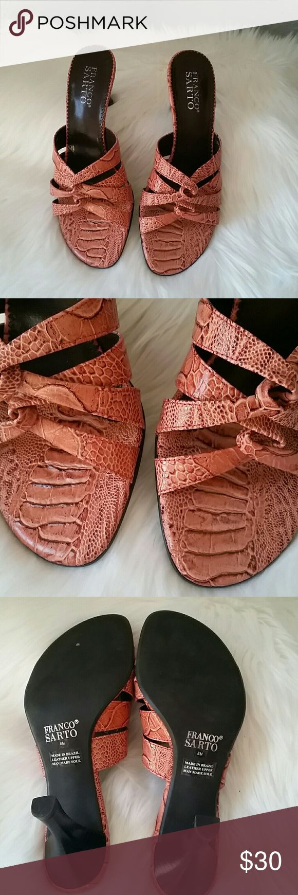 """Franco Sarto coral leather mules NWOB Franco Sarto size 8M coral leather mules. Approximately 2.75"""" heel. Cushioned heel and arch. Franco Sarto Shoes Sandals"""