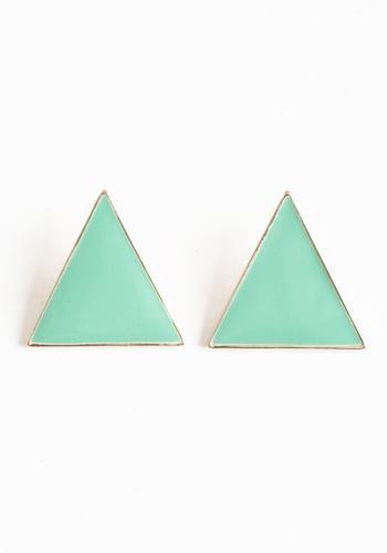 Cute mint triangle earrings. Simple but cute!