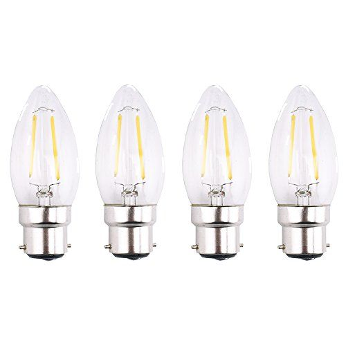 From 8 99 Bonlux 4 Pack 2w B22 Bc Led Filament Candle Bulb Warm White 2700k C35 Bayonet Cap Led Antique Candle Light 25w Incandescent Equivalent Antique Candles
