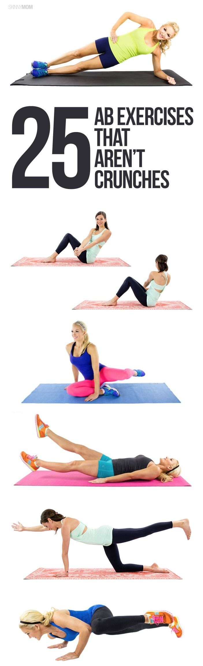 Get stronger abs WITHOUT a single crunch with these 25 exercises!