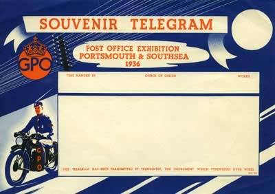 Souvenir greetings telegram from the Post Office Exhibition, Portsmouth & Southsea, 1936 (POST 104/26).