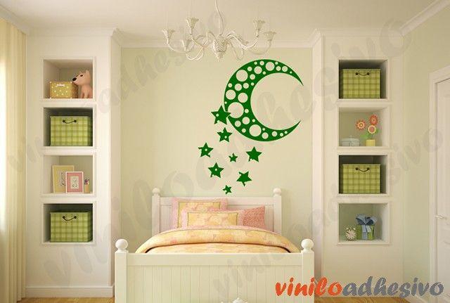 Vinilo decorativo - Luna con estrellas