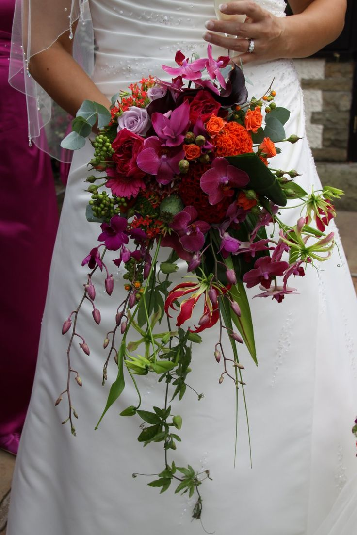 Cascading bouquet with greens