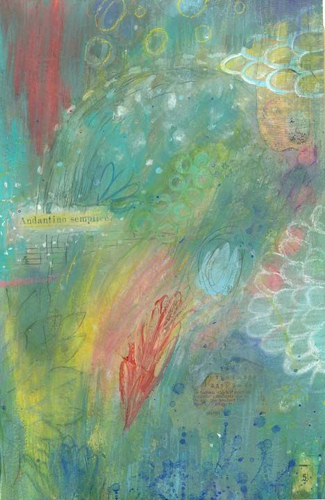 September 5 - vintage papers, acrylic and pastel  www.susan-mitchell.com