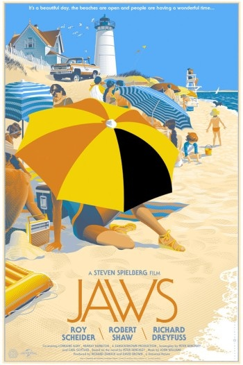 Alternative Jaws film poster, love it! Clever using part of the umberella to create a shark fin