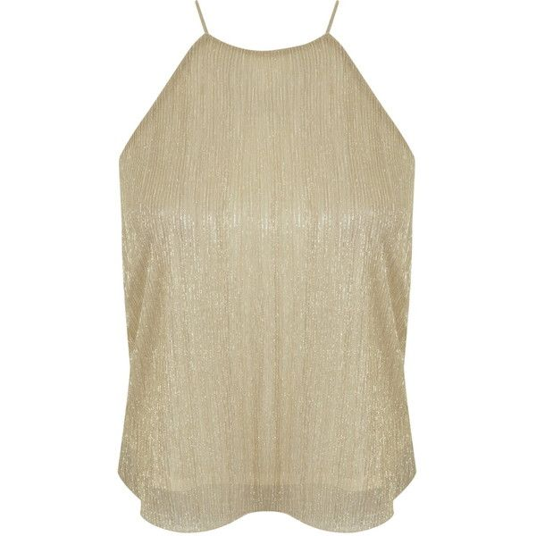Miss Selfridge Petites Gold Shimmer Cami Top ($30) ❤ liked on Polyvore featuring tops, gold color, petite, gold camisole, brown cami top, petite camisole, brown tank and brown tops