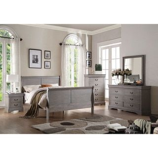 acme furniture louis philippe iii 4 piece antique grey bedroom set 4 piece twin set antique gray - Shipping Bedroom Furniture
