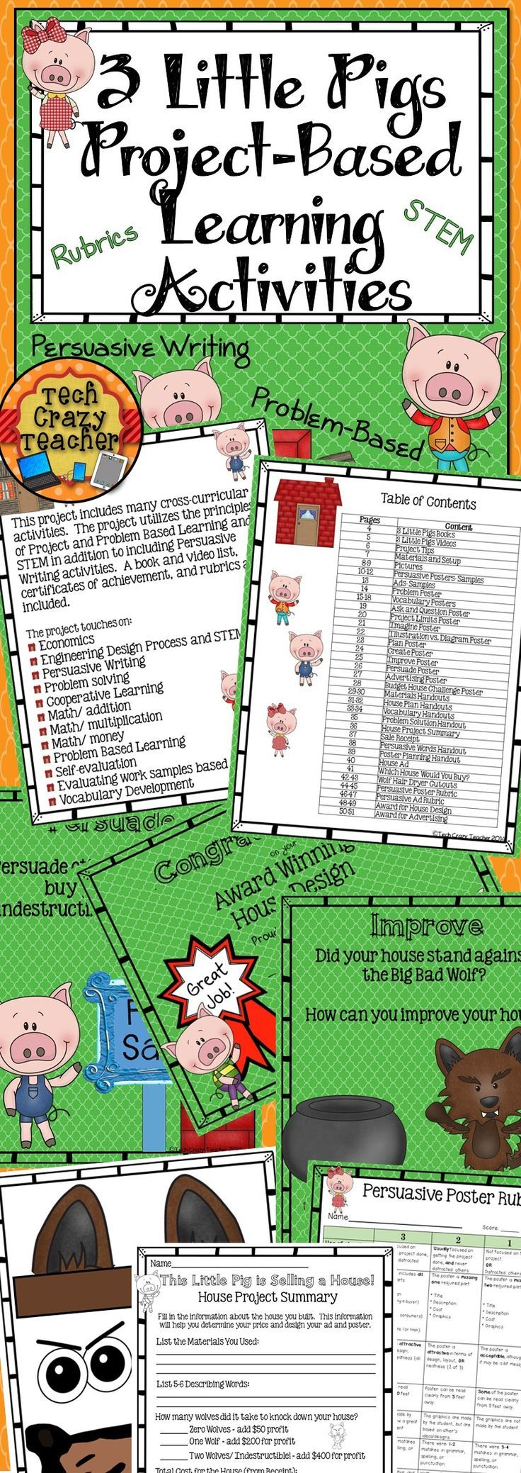3 Little Pigs Project-Based Learning Activities: Persuasive writing, STEM, Problem-Based and Project Based learning all in one! Rubrics included $ (scheduled via http://www.tailwindapp.com?utm_source=pinterest&utm_medium=twpin&utm_content=post621547&utm_campaign=scheduler_attribution)