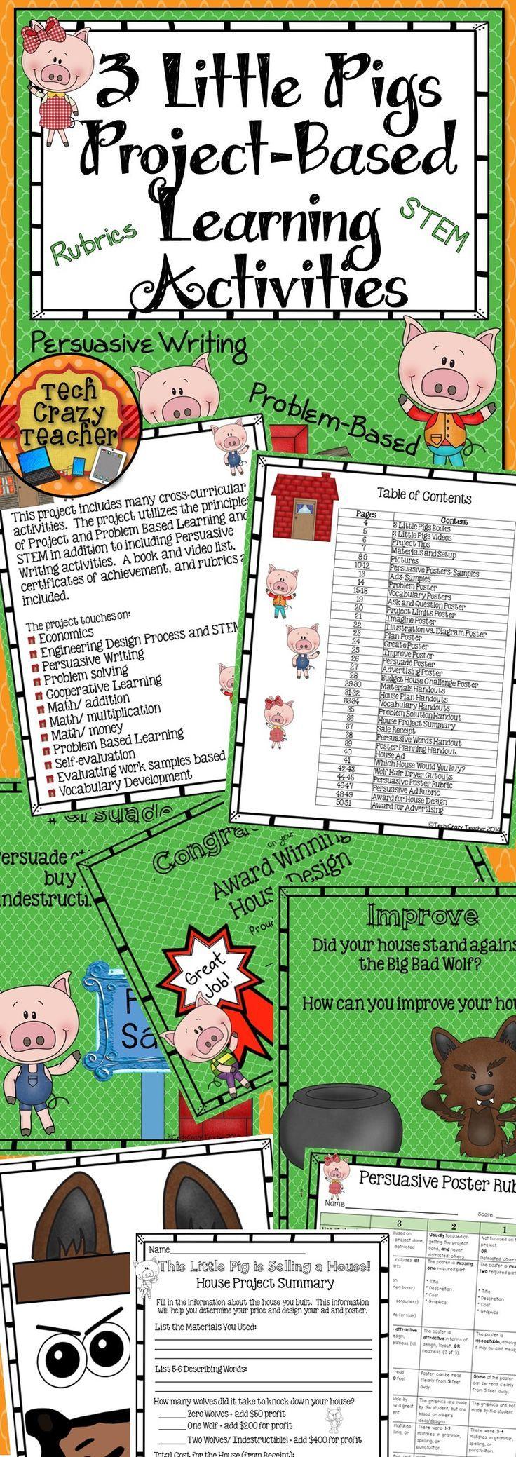 Los Tres Cerditos es un proyecto en el que se incluyen varias actividades cros-curriculares para aprender escritura persuasiva, vocabulario, matemáticas (sumas, restas, dinero), resolución de problemas, diseño, trabajo colaborativo, auto-evaluación, etc. Ideal para 5 ó 6 sesiones de Aprendizaje Basado en Proyectos en tercero o cuarto de Primaria.
