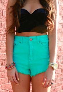 colorFashion, Summer Outfit, Headband, Crop Tops, Clothing, High Waisted Shorts, Colors, Denim Shorts, High Waist Shorts