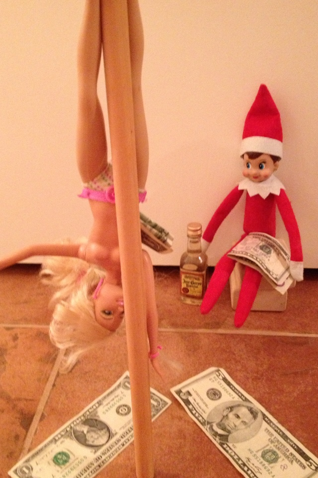 A very naughty Elf on the Shelf