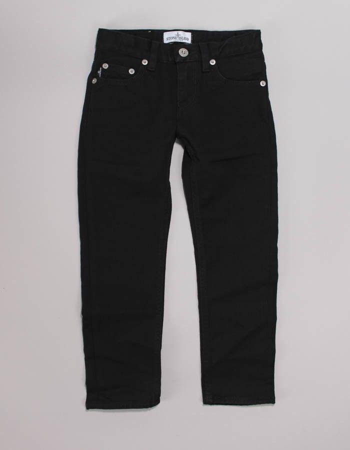 Stone Island Junior Black 5 Pocket Denim Pants   Accent Clothing