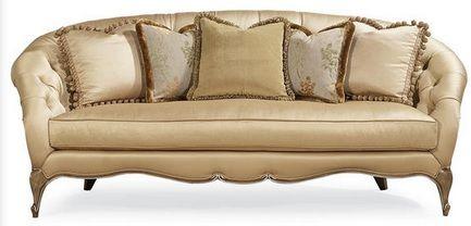 Изящный диван Tatiana с изысканными резными деталями в отделке фисташка с серебрянным напылением.             Метки: Большие диваны.              Материал: Ткань, Дерево.              Бренд: Schnadig.              Стили: Классика и неоклассика.              Цвета: Бежевый.