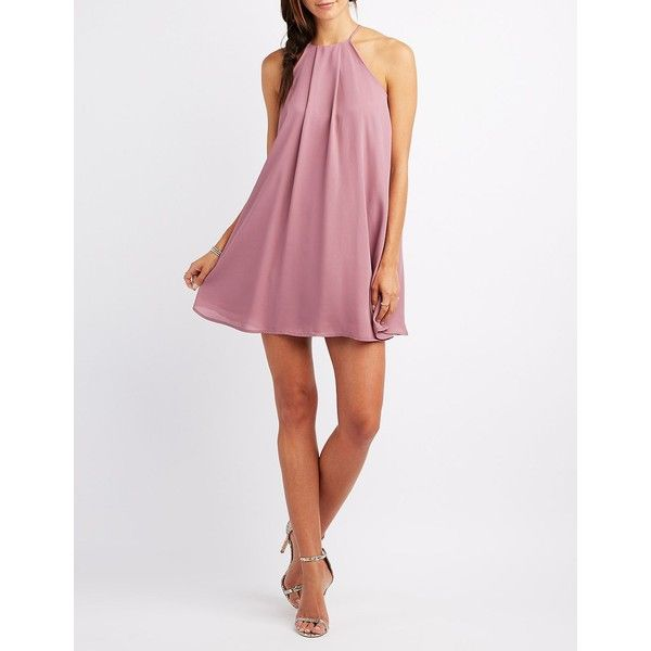 Charlotte Russe Bib Neck Shift Dress ($40) ❤ liked on Polyvore featuring dresses, wistful mauve, special occasion dresses, multi colored prom dresses, bridesmaid dresses, cocktail dresses and mauve prom dress
