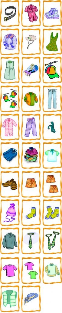 Flash cards for clothing items