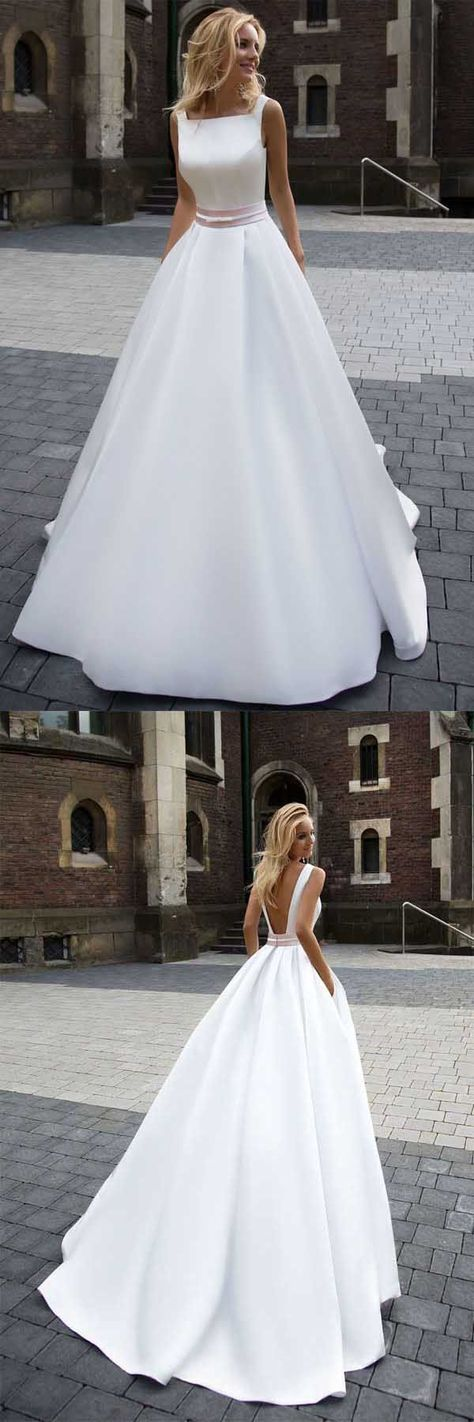 On Sale Princess Simple A-line Satin Ivory Wedding Dresses WD205 #wedding #dress #pgmdress #weddingdress